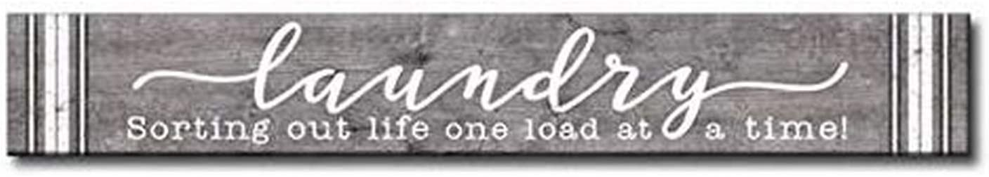 "My Word! Laundry Sorting Out Life one Load at a time-3.5"" x 24"", Decorative Home Décor Wooden Sign, Gray/Cream"