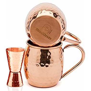 HardCraft Handcrafted and Hammered Finish Copper Moscow Mule Mugs with Jigger and Cocktail eBook, 16 oz. (Set of 2)