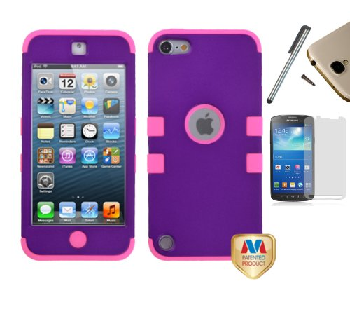 - For Apple iPod Touch (5th Generation) Dual Layer Tuff Armor Impact Hybrid Soft Silicone Cover Hard Snap On Plastic Case + [WORLD ACC] TM Brand LCD Screen Protector + Silver Stylus Pen + Black Dust Cap Free Gift (Purple / Electric Pink)