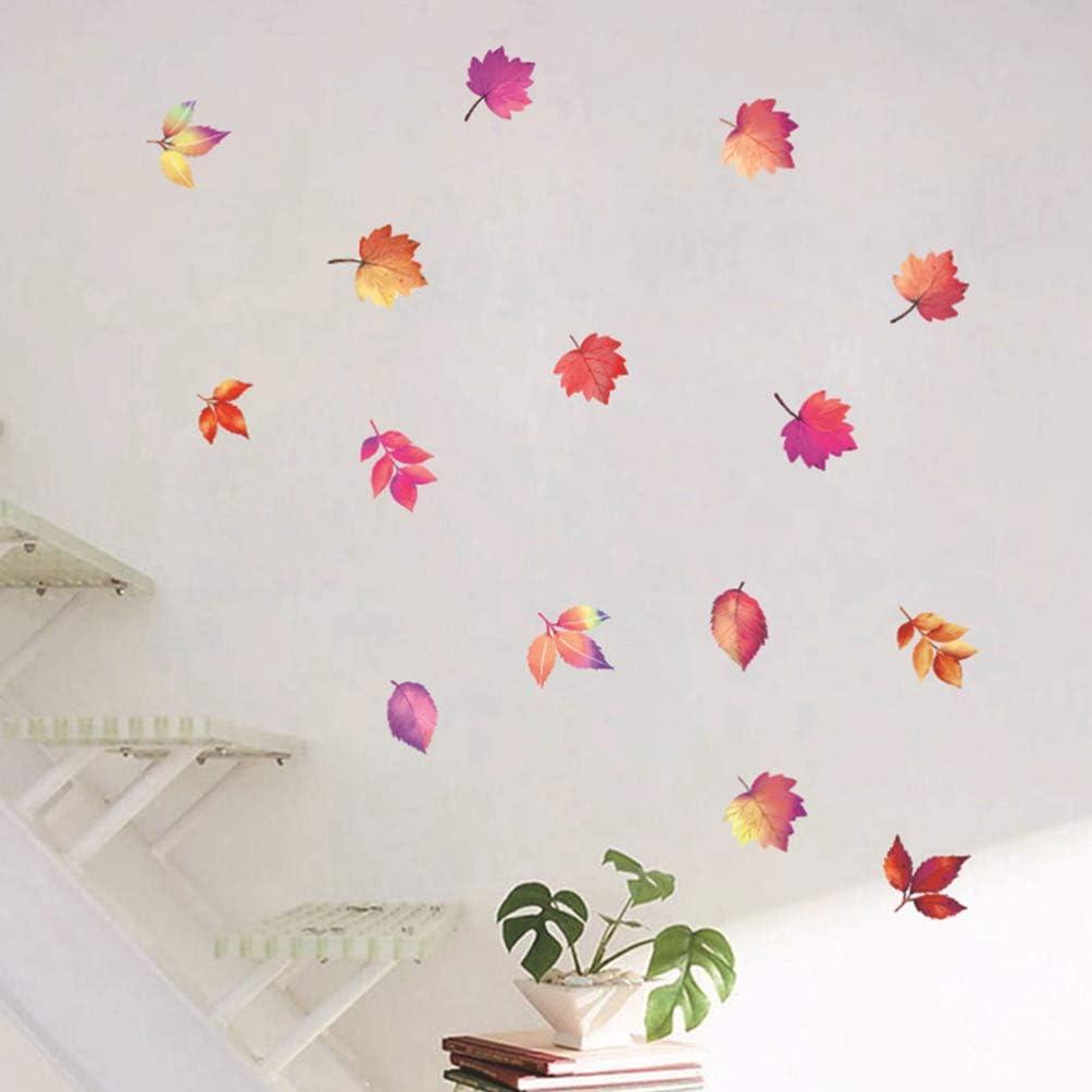 dise/ño de hojas de arce de oto/ño fiesta de Acci/ón de Gracias Adhesivo decorativo para ventana Toyvian para decoraci/ón de Navidad decoraci/ón de ventana 2 unidades