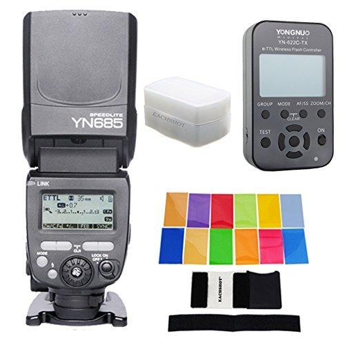 YONGNUO YN685 YN-685 Wireless HSS TTL Speedlite Flash Build in Receiver Worked with YN622C YN622II-C YN622C-TX For Canon + YN622C-TX + EACHSHOT® Filter + Diffuser by YONGNUO