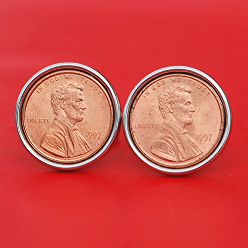 US 1997 Lincoln Small Cent BU Uncirculated Coin Silver Plated Cufflinks NEW - Lucky Penny