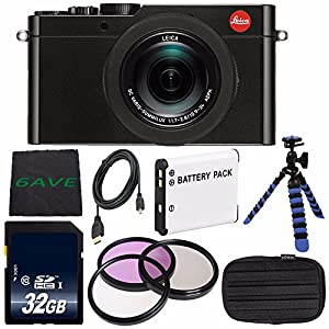 Leica D-LUX (Typ 109) Digital Camera (Black) (International Model no Warranty) + DMW-BLE9 Replacement Lithium Ion Battery + Flexible Tripod with Gripping Rubber Legs + Mini HDMI Cable Bundle 12