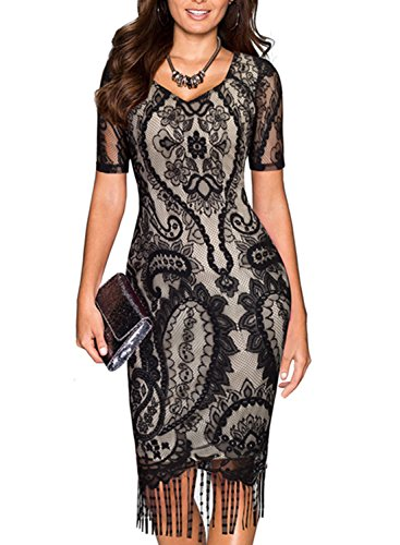 [SYLVIEY Womens Vintage 1920s Lace floral crochet bodycon Fringed Flapper Dress Black Large] (1920 Dress)