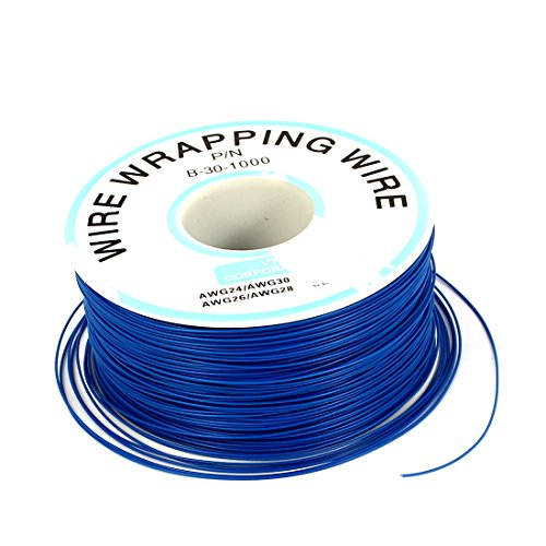 Uxcell a16031500ux1767 PCB Copper Core Jumper Wire Single Conductor Coil AWG30 820.2 Ft Length Blue