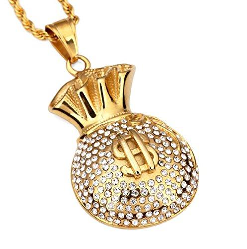 Gudeke Mode Femmes Hommes Argent Sacs Couleur Diamonds Hip Hop collier pendentif avec 75cm Chain