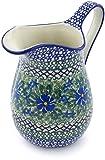 Polish Pottery 29 oz Pitcher made by Ceramika Artystyczna (Wild Diamonds Theme) Signature UNIKAT + Certificate of Authenticity