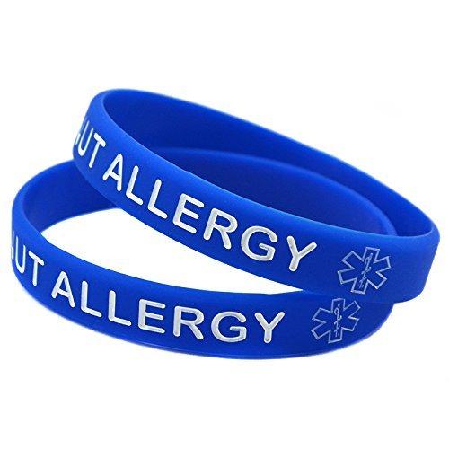 1x Medical Nut Allergy Awarenes Alert Silicone Bracelet Wristband (Blue)