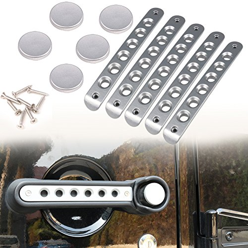 Chrome Door Handle Accents - Athiry Chrome 5 PCS Door Handle Accents/Inserts Cover + Door Handle Button Trim for Jeep Wrangler JK Unlimited 4D 2007-2017
