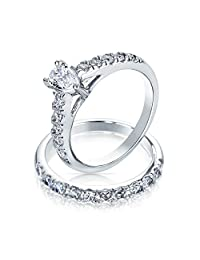 Bling Jewelry Pear Shaped Sterling Silver CZ Engagement Wedding Ring Set