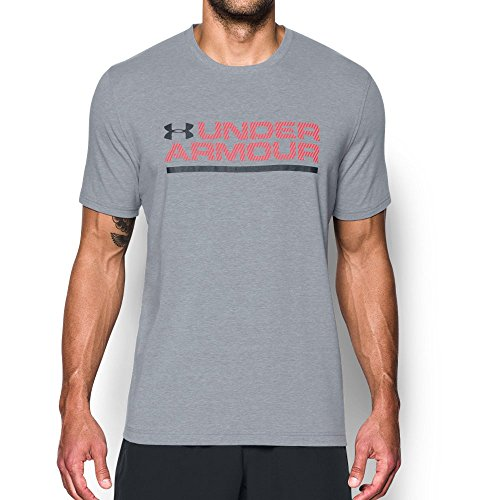 Under Armor Men's Wordmark Lockup T-Shirt, Steel Light Heather/Red, Small