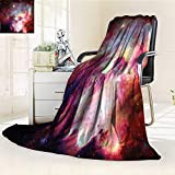 YOYI-HOME Digital Printing Duplex Printed Blanket of Magical Gas Cloud Nebula in Outer Space with Light Galaxy Solar Zone Print Purple Red Summer Quilt Comforter /W79 x H59