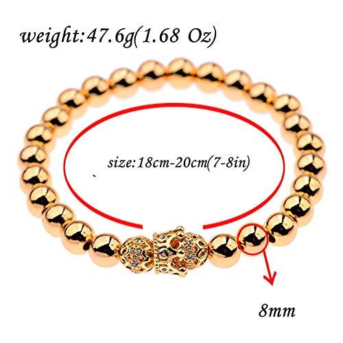 YASEF Bracelet 2Pcs/Set Couple Bracelets for Women Men Copper Bead&CZ Crown Beaded Charm Bracelet Luxury Jewelry