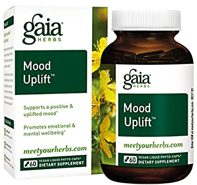 Gaia Herbs Mood Uplift Liquid Capsules, Plant-Based Mood Support Supplement, Promotes a Positive Sunny Mood with St. John's Wort, Ginkgo Biloba, Gotu Kola and Rosemary, 60 Count