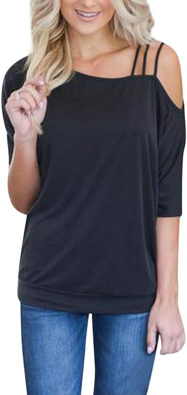 Ropa Mujer Primavera 2019 Fossen Blusa Mujer Camisa De Vestir Mujer SóLido Escote AsiméTrico Correa para El Hombro FríO Camiseta De Manga Corta Tops: Amazon.es: Ropa y accesorios