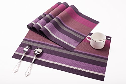 MMORUN Set of 4 Placemats with 4 free coasters as Gift ,Placemats for Dining Table, Resistant Placemats, Stain Resistant Washable PVC Table Mats,Kitchen Table mats (Purple)