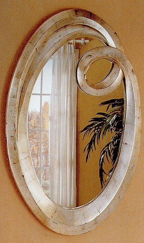 Q Frame Contemporary Oval Beveled Mirror In Silver Finish