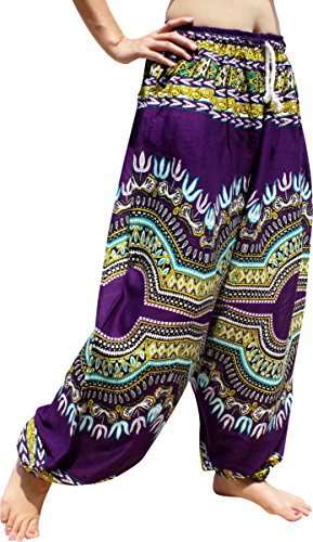 Capri Ottoman - Full Funk Summer Gypsy Slav Light Rayon Elastic Waist Lazy Ottoman Pants, Small, Dashiki Violet