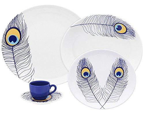 Oxford Loop Porcelain Peacock Collection Dinnerware Set, ...