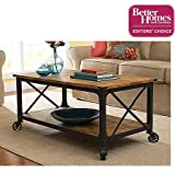 Antiqued Black/Pine Finish, Fixed Casters, Rustic Country Coffee Table