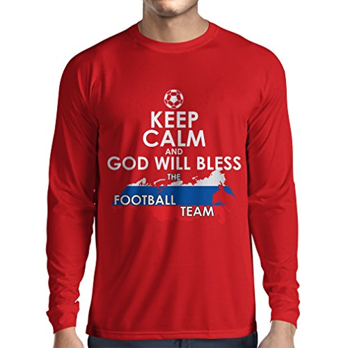 fan products of N4509L Long Sleeve t Shirt Men Keep Calm and God Will Bless Russia National Football Team (Small Red Multi Color)