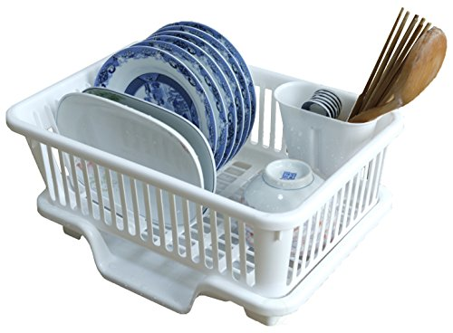 (Basicwise Plastic Dish Rack with Drain Board and Utensil Cup)