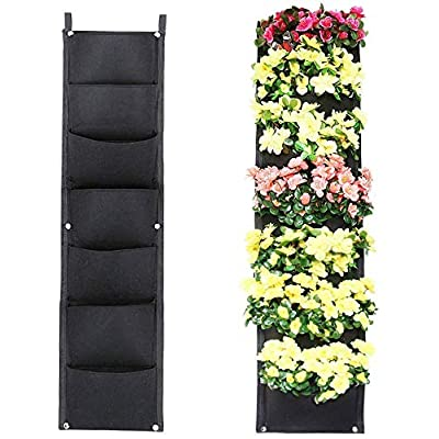 Hengwei Vertical Hanging Wall Garden Planter with 7 Roomy Pockets for Herbs Or Flowers. Great Addition to Your Outdoor Garden and Patio Areas Home Decoration(7 Pocket, Black): Garden & Outdoor
