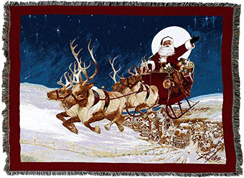 Pure Country Weavers - Merry Christmas to All Santa on his Sleigh at Night Woven Tapestry Throw Blanket with Fringe Cotton USA 72x54