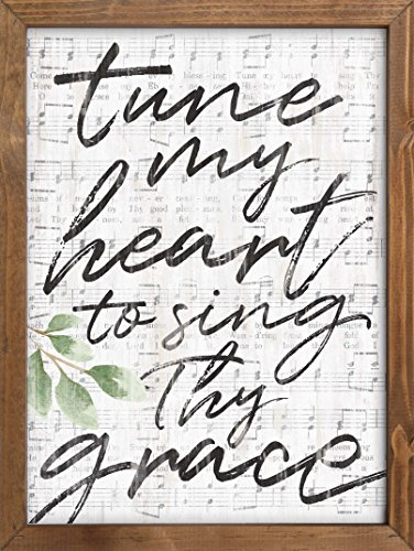 P. GRAHAM DUNN Tune My Heart to Sing Thy Grace Sheet Music Look 12 x 16 Inch Pine Wood Framed Wall Art Plaque