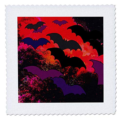 3dRose BlakCircleGirl - Halloween - Bats in Flight - Bats Flying into The Night from Trees and Clouds - 8x8 inch Quilt Square (qs_286882_3) ()