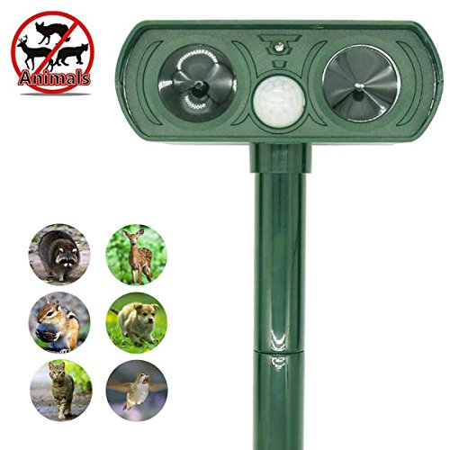 Ultrasonic Animal Repeller, ZOVENCHI Solar Powered Pest Repeller, Waterproof Outdoor Repellent with Motion Activated PIR Sensor, Repel Dogs, Cats, Squirrels and more
