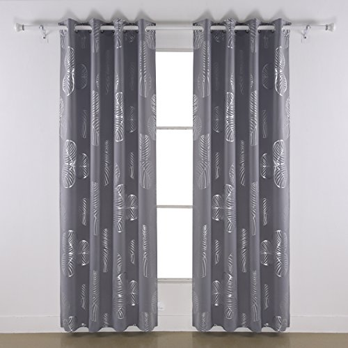 Tie Peace Out - Deconovo Curtains Grommet Goat Willow Leaf Printed Delicate Thermal Insulated Blackout Curtains for Living Room 52 W x 63 L One Pair Light Grey
