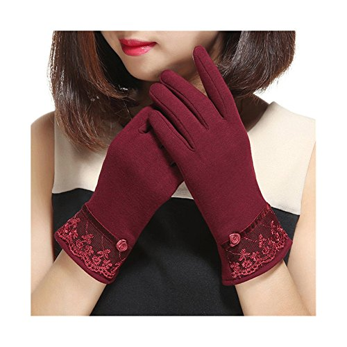 Price comparison product image Spiritlele Magic Screen Touch Gloves Warm Telefingers Winter Gloves for Women (lace red)