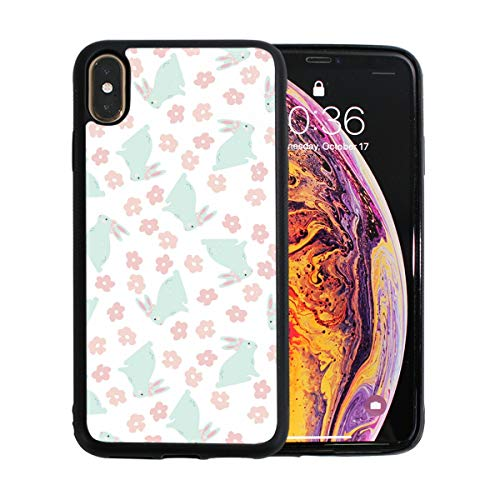 Bright Bunny and Flowers Case for iPhone Xs 6.5-Inch Max Soft TPU Thin Cover Shock-Absorption Bumper Cover ()