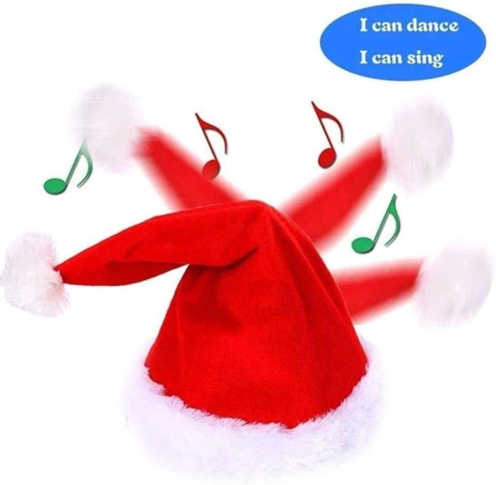 Savlot Chapeau De No/ël /Électrique Chant De No/ël Chant Danser P/ère No/ël Chapeau Rouge Santa Cap Dr/ôle Jouet De No/ël pour Enfants