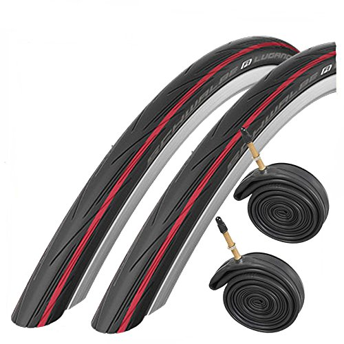 SCHWALBE Lugano 700 x 25c Road Bike Tires with Presta Inner Tubes (Pair) - Red