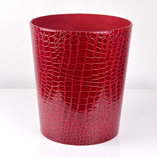 Trash Can Creative Waterproof Leather Sitting Room Trash Bins Bedroom Waste Container Pure Leather Dustbin (Wine red)