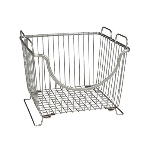 Spectrum Diversified Ashley Stackable Basket, Large, Satin Nickel (Stackable Basket)