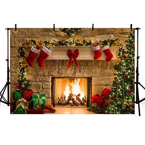 MEHOFOTO 8x6ft Merry Christmas Eve Photo Studio Backdrop Christmas Trees Xmas Fireplace Gifts Red Bow Stocking Backgrounds for Photography
