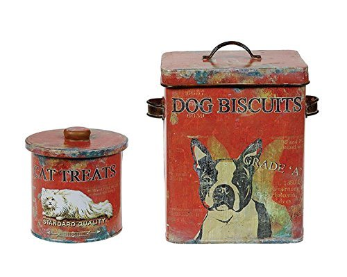- BCD Tin Dog Biscuit Treat Container Distressed Finish Vintage Style Country Home Pet D