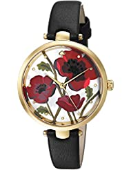 kate spade new york Womens Holland Quartz Stainless Steel and Leather Casual Watch, Color Black (Model: KSW1367)