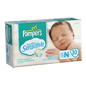 Pampers Swaddlers Sensitive Diapers Jumbo Pack Size Newborn 30 Count (Pack of 4)