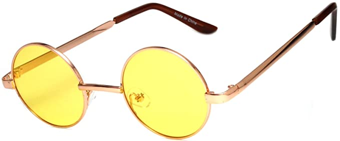 Amazon.com: Gafas de sol de metal redondas con diseño retro ...