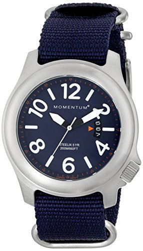 Men's Sports Watch | Steelix Nylon Adventure Watch by Momentum | Stainless Steel Watches for Men | Analog Watch with Japanese Movement | Water Resistant (200M/660FT) Classic Watch - Blue / 1M-SP74U7U