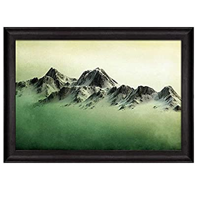 Classic Design, Incredible Expertise, Mountains Over a Green Watercolor Gradient Background Nature Framed Art