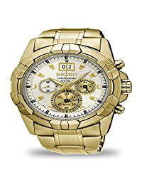 Seiko Lord Chronograph Gold Toned Stainless White Dial Men's Watch SPC190P1