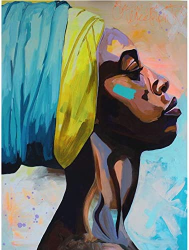 Faicai Art Wall Art Canvas Paintings Abstract American African Women Figure Pictures Colorful Watercolor Black Africa Woman Lady Portrait Poster and Prints HD Printed Large Home Decor Framed 28″X40″