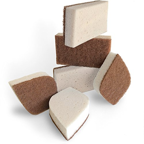 (Pura Naturals Stink Free Sponge. Stay Fresh NO Odor Guarantee! Eco Kitchen/Household/Dish Sponges w/Walnut Scrubbers. 40x More Durable. (6))