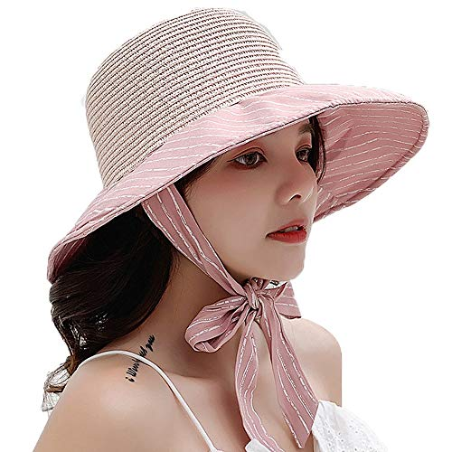 Waitousanqi New Splicing Dual-use Grass Top Cloth Hat/Stripe Fashion Tether Bow/UV Size Adjustable Pink Q1