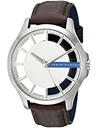 Armani Exchange Men's 'Smart' Quartz Stainless Steel and Leather Automatic Watch, Color:Brown (Model: AX2187)